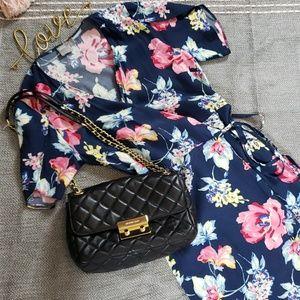 Asos Floral Summer Wrap Dress Tulip Sleeve